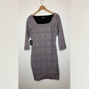 🌹NWT Express Plaid Fitted Sheath Dress